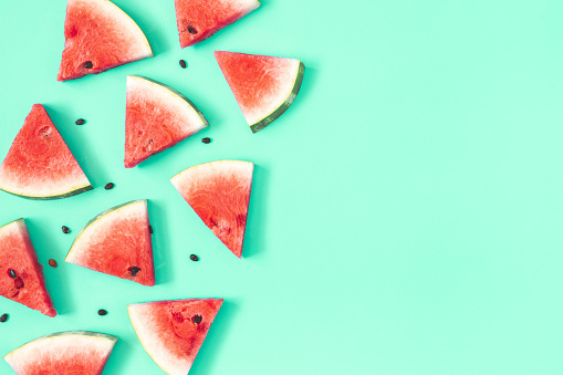 Watermelon Pattern Red Watermelon On Mint Background Summer Concept Flat Lay Top View Copy Space Stock Photo - Download Image Now
