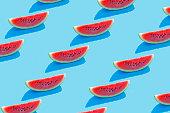 Watermelon on blue background