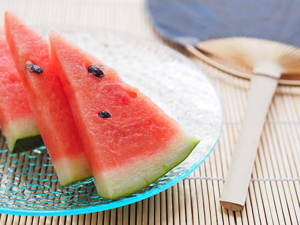 wassermelone  - japanischer fächer stock-fotos und bilder