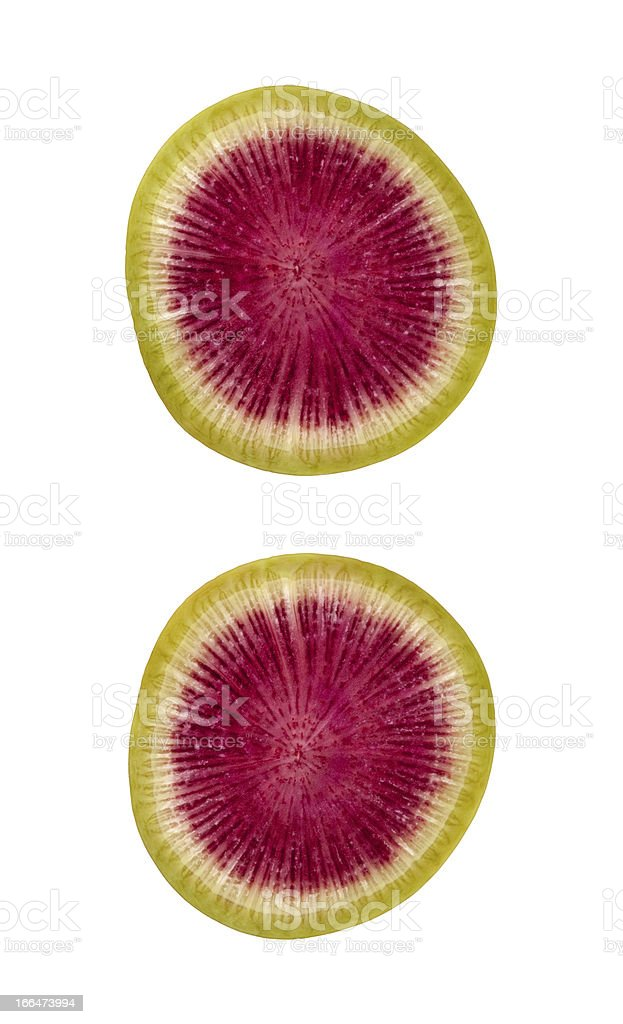 Watermelon Radish Slice with a clipping path stock photo