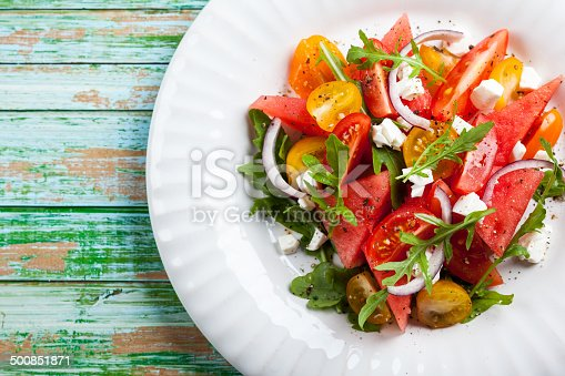 Tomato and Watermelon Salad with Feta and balsamic sauce