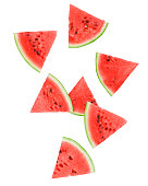 watermelon set, isolated on white background, clipping path, full depth of field