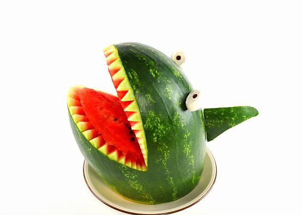 wassermelonen hai-shark auf einem wassermelone - hai party lebensmittel stock-fotos und bilder