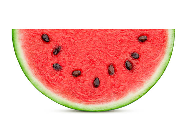 watermelon slice isolated on white background, clipping path, full depth of field - cząstka zdjęcia i obrazy z banku zdjęć