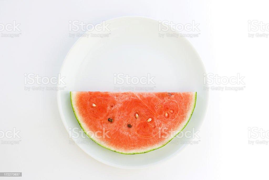 Watermelon Slice on White Plate Hz royalty-free stock photo