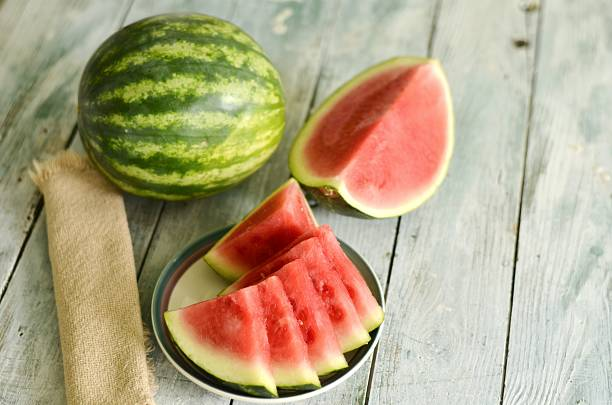 Watermelon Sliced and Whole stock photo