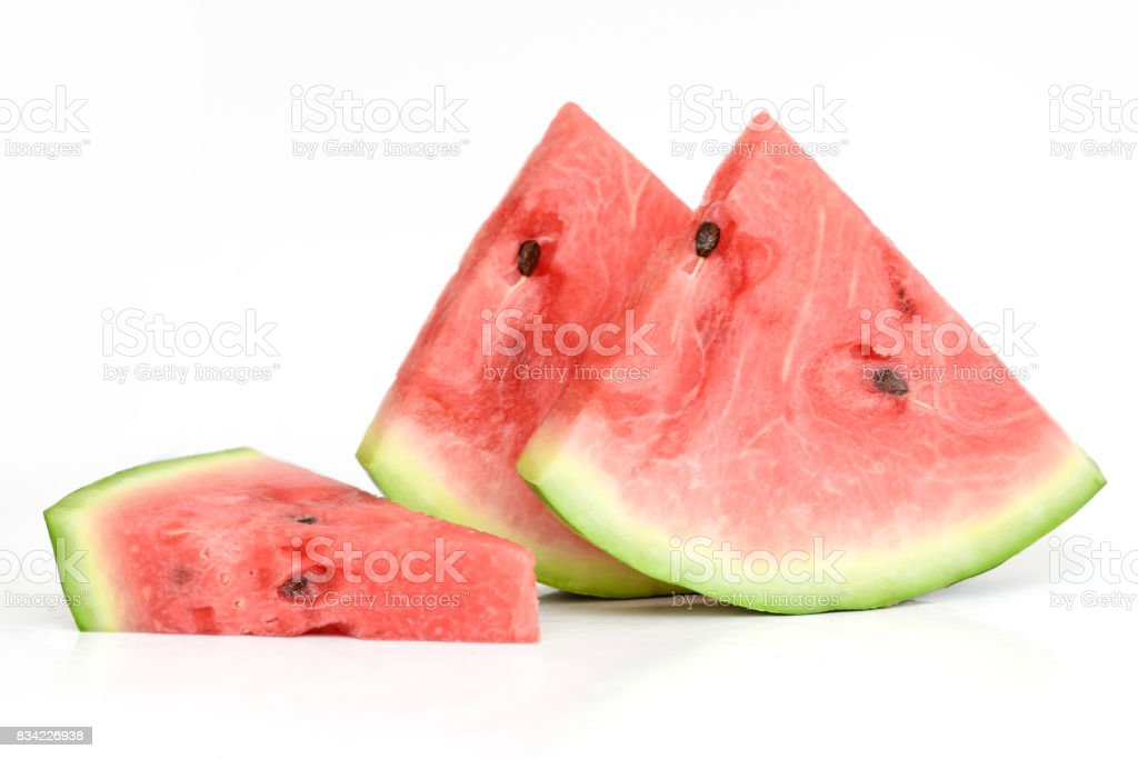 Watermelon slices on white background stock photo