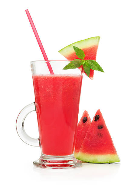 watermelon smoothie in a glass stock photo