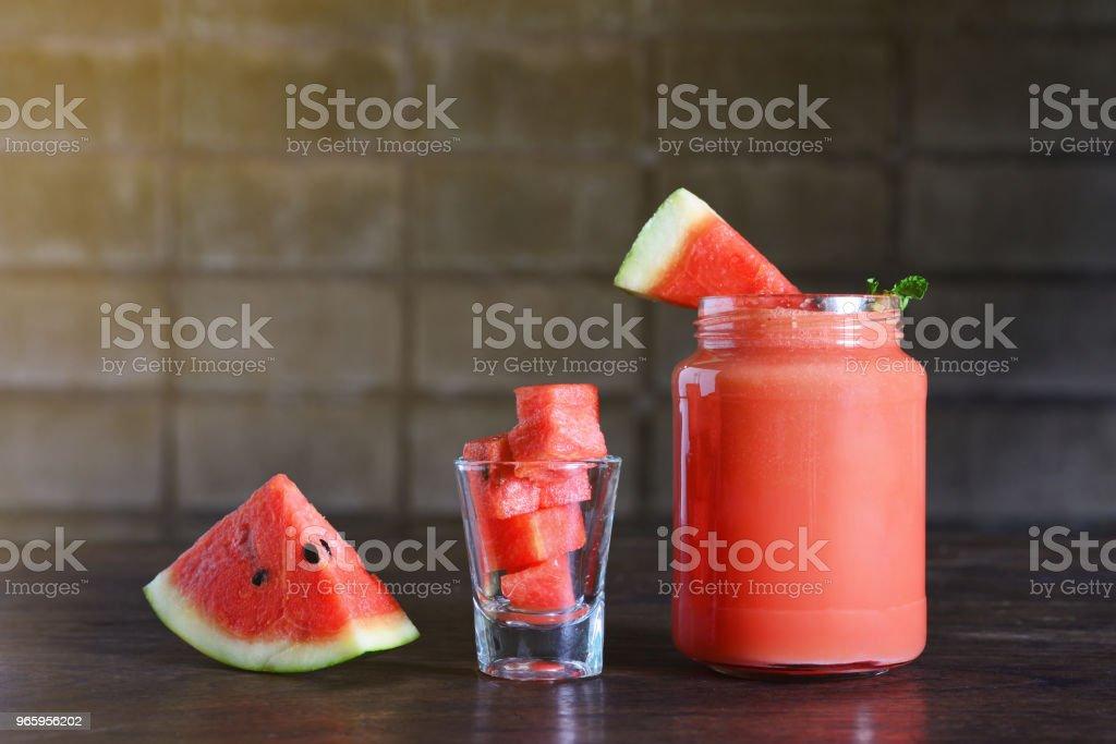 Wassermelonen-smoothie - Lizenzfrei Café Stock-Foto