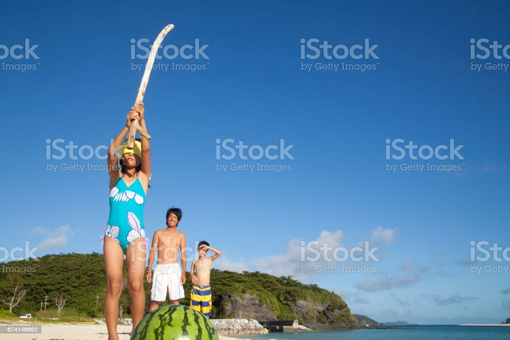 Watermelon to assign parent-child stock photo