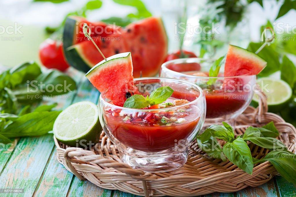Watermelon Tomato Gazpacho stock photo