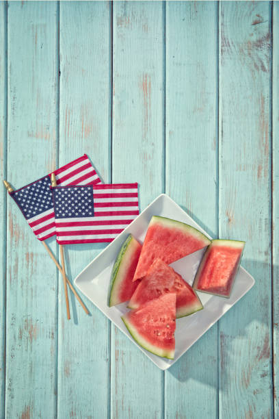 Watermelon Triangle Slicest for fourth of July stock photo