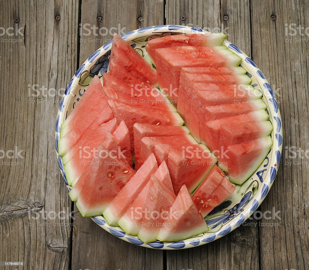 Watermelon Wedges Arrayed on a Plate stock photo