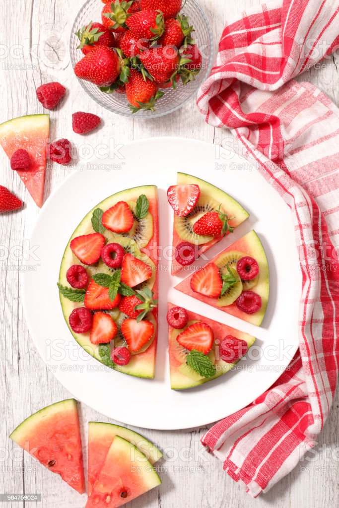 watermelon with berry fruit royalty-free stock photo