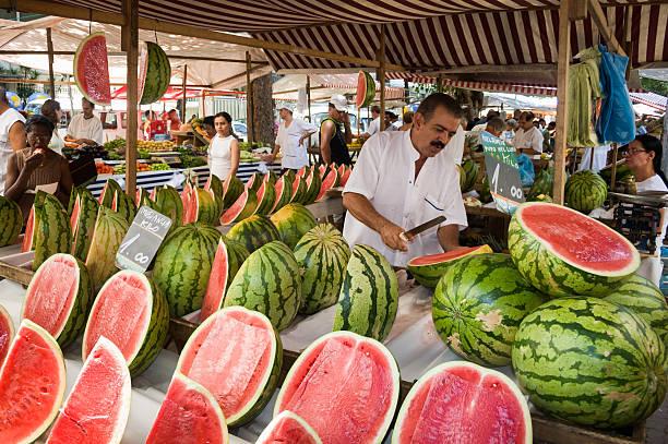Watermelons at Brazilian Street Market stock photo