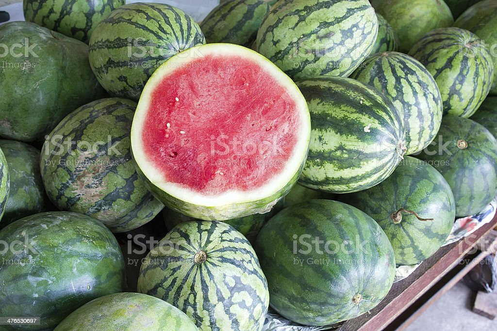 Watermelons at Fruit Stand royalty-free stock photo