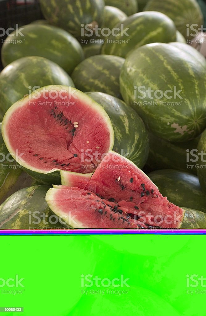 Watermelons At The Farmers Market royalty-free stock photo