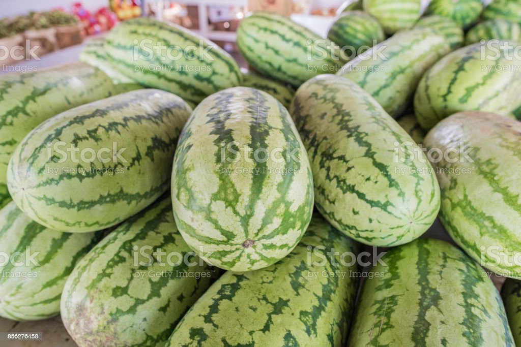Watermelons for sale A pile of watermelons for sale at a farmer's market in Cooley Springs, upstate South Carolina. Agriculture Stock Photo