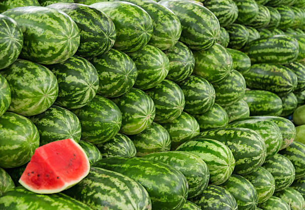 Watermelons in a market stock photo