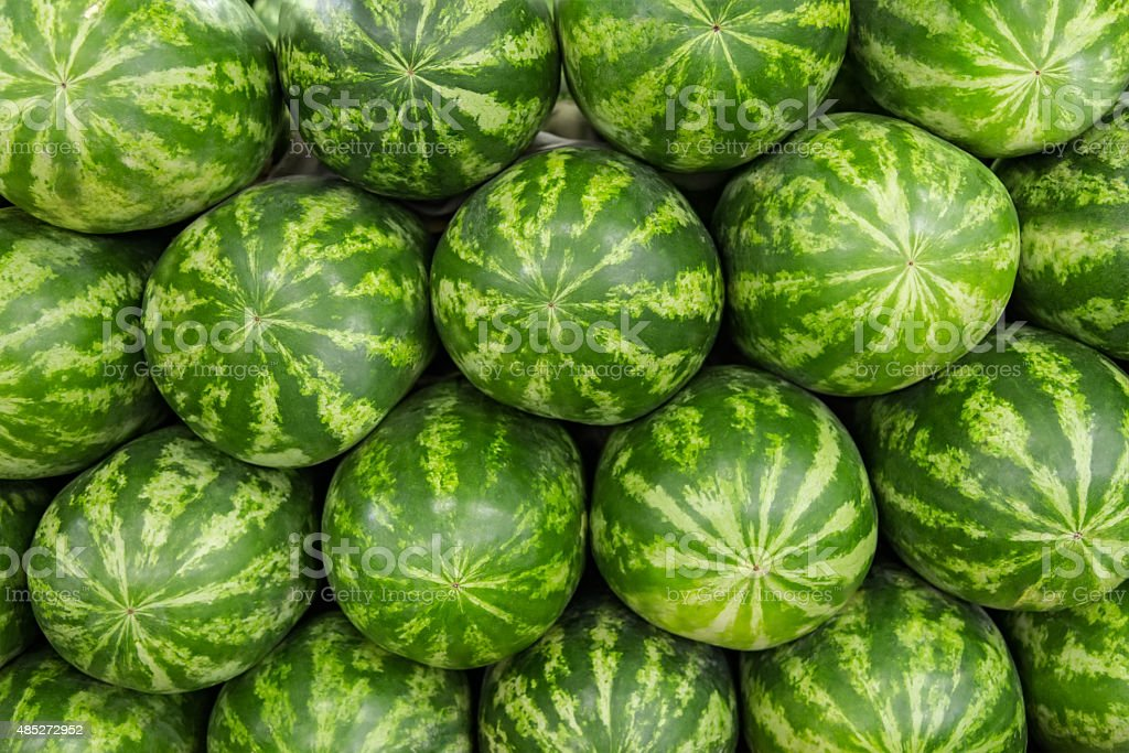Watermelons stacked stock photo