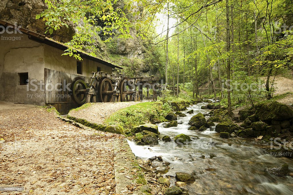 Watermill in the woods royalty-free stock photo
