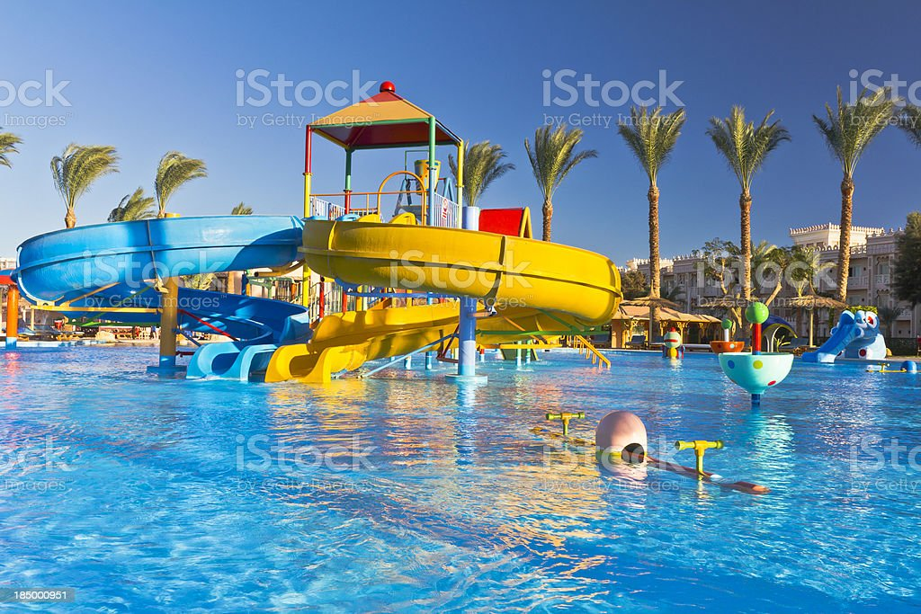 Waterpark in luxury tropical resort stock photo