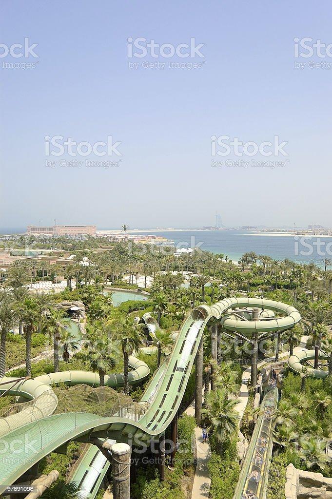 Waterpark of Atlantis the Palm hotel, Dubai, UAE royalty-free stock photo