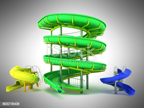istock Waterpark slides green yellow blue 3d rendering on gray background 805218408