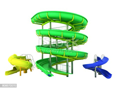 istock Waterpark slides green yellow blue 3d rendering on gray background 808570070