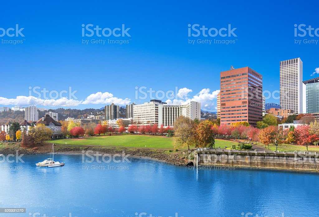 water,park,cityscape and skyline in portland stock photo