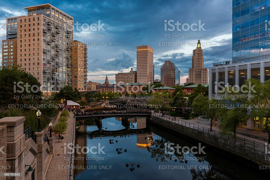 Waterplace Park in Providence stock photo