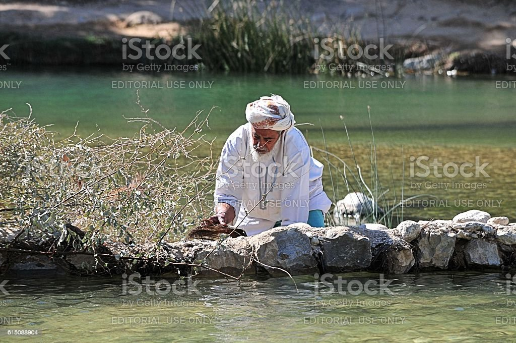 Waterpool in Wadi Bani Khalid, Oman stock photo