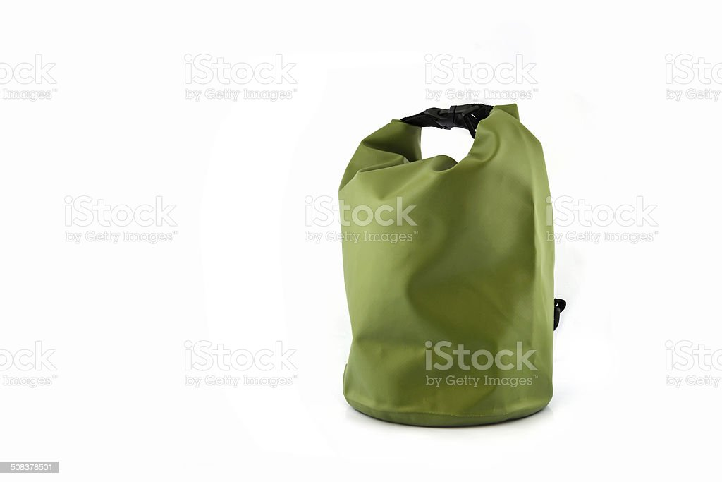 Waterproof bag isolated on white stock photo