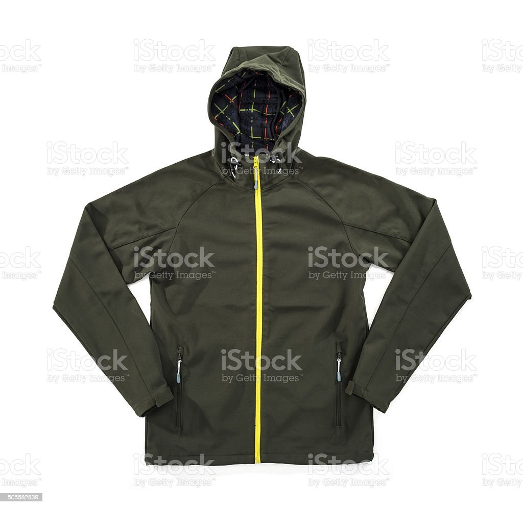 Waterproof, windproof, breathable dark green jacket stock photo