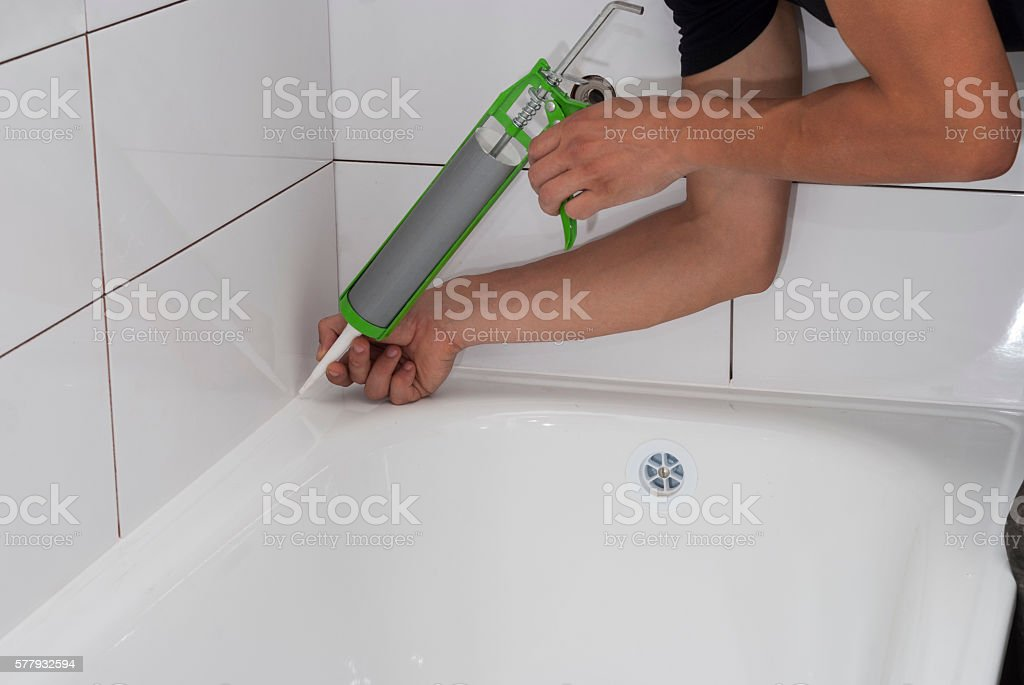 waterproofing bath silicone sealant stock photo
