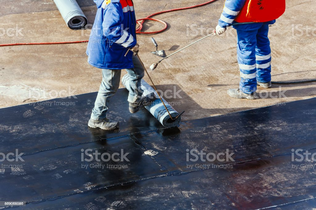 waterproofing foundation flat roof repair stock photo