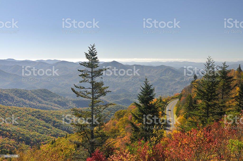 Waterrock Knob on Blue Ridge Parkway in Autumn stock photo