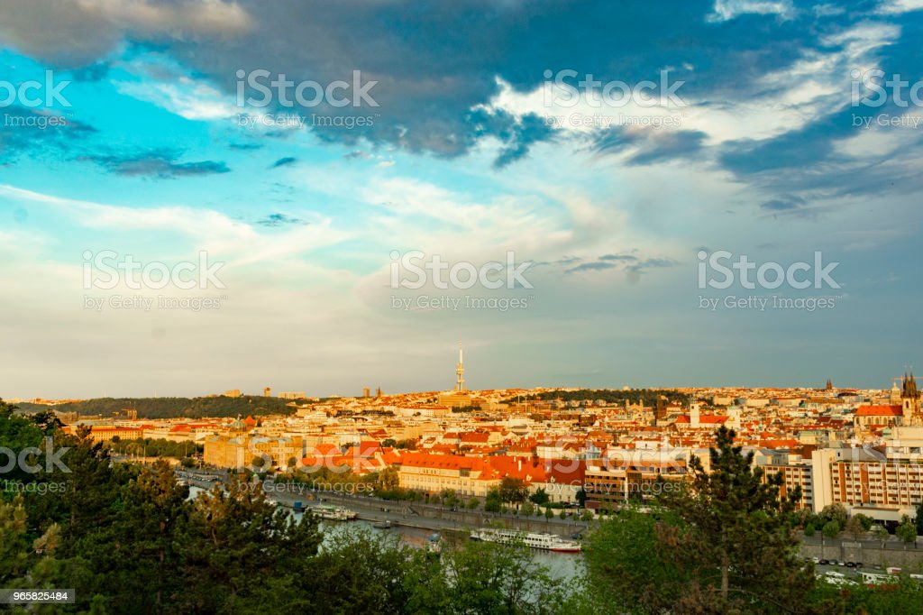 waters at Prague in the evening at sunset - Royalty-free Adventure Stock Photo