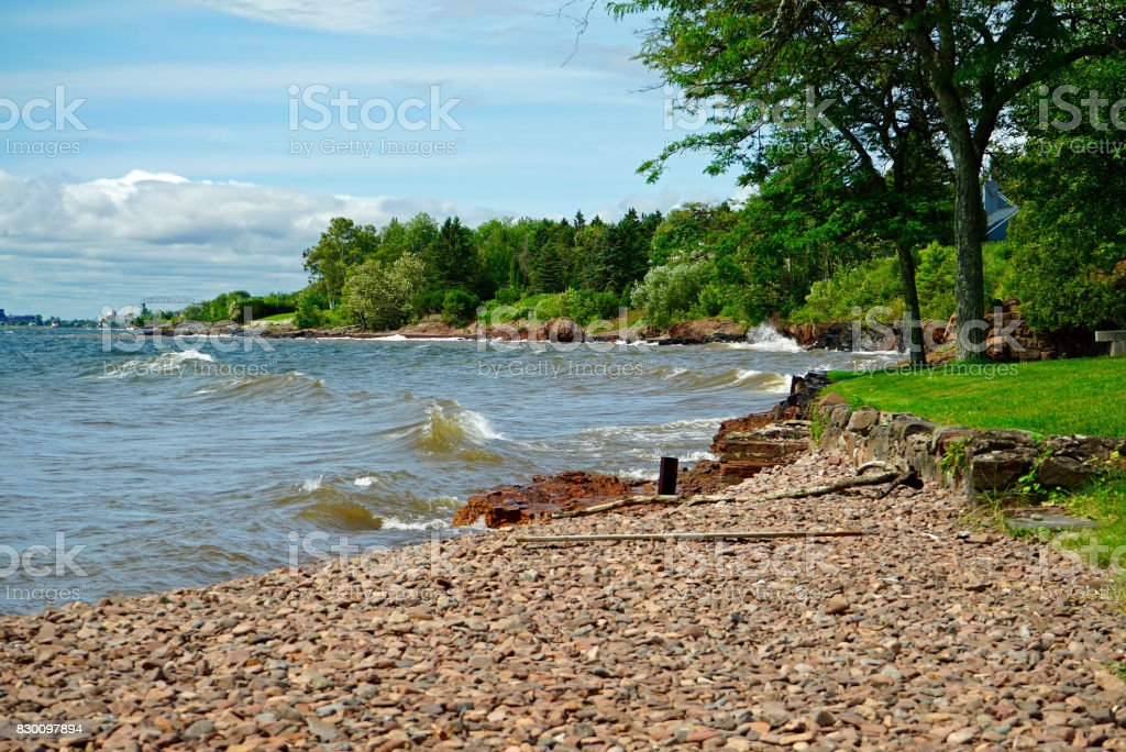 Water's Edge of Lake Superior stock photo