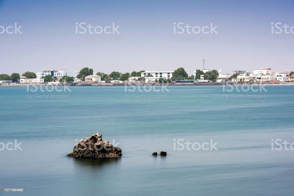 Waters Of Gulf Of Aden On The Horizon Djibouti City Stock