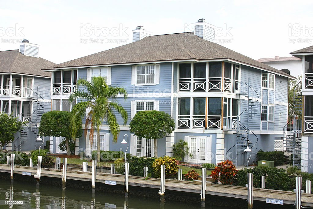 Waterside Florida Condo with Dock royalty-free stock photo