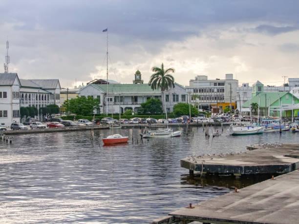 waterside scenery in Belize City stock photo