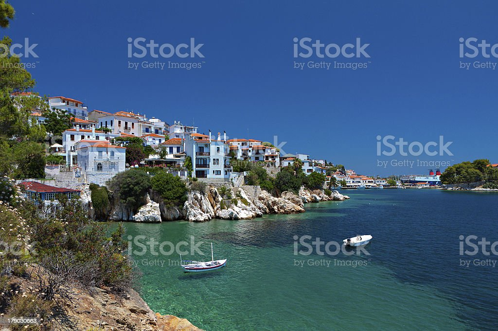 Waterside view of the Greek island of Skiathos stock photo