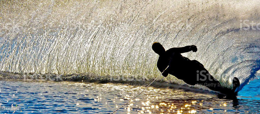 Waterskier in silhouette stock photo