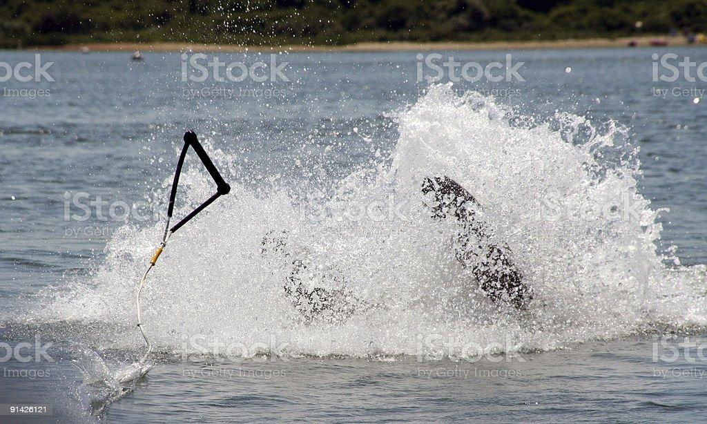 Waterskiing Wipeout stock photo