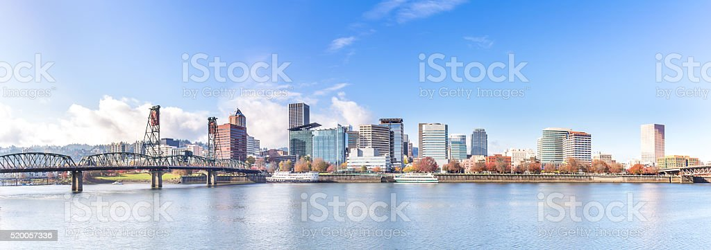 water,skyline and cityscape in portland stock photo