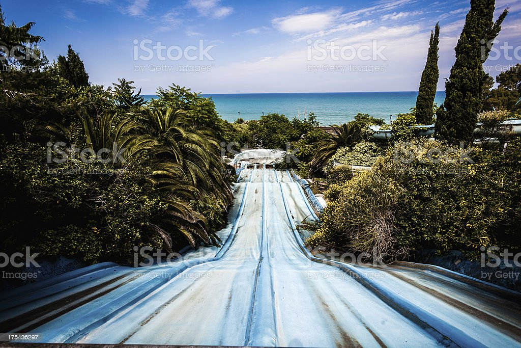 Waterslides in Abandoned Water Park stock photo
