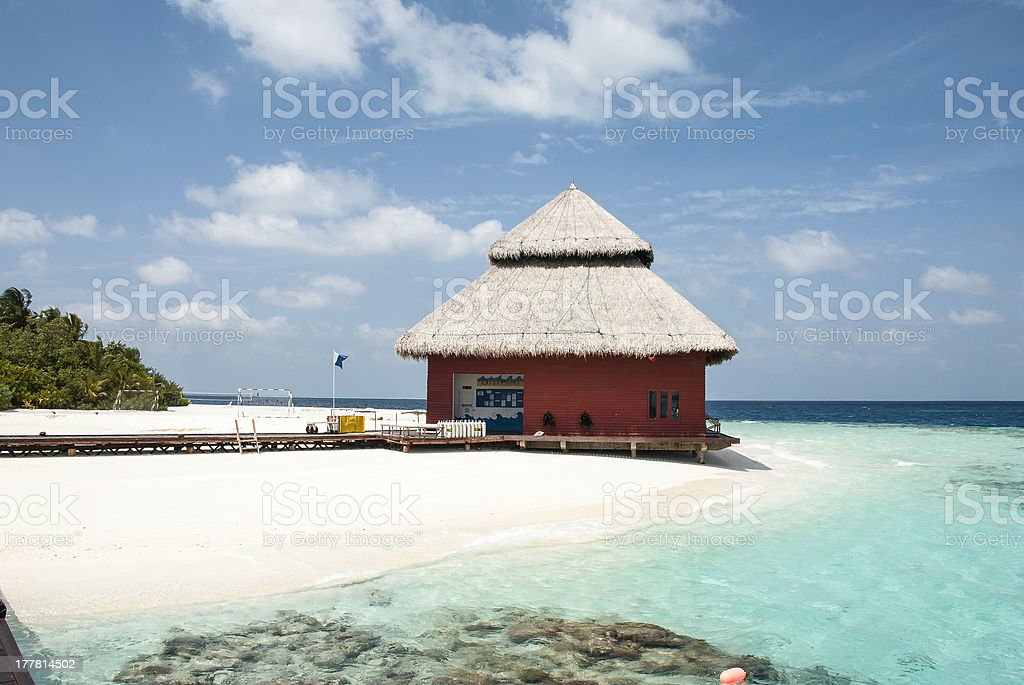 Watersportscenter at tropical Beach royalty-free stock photo