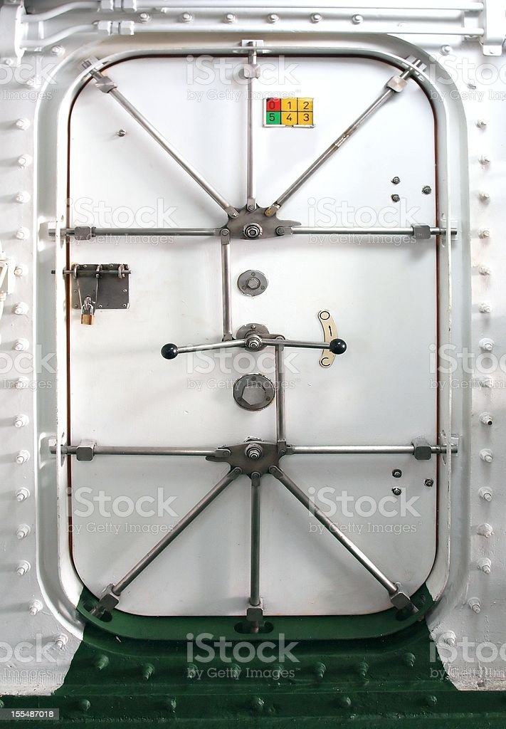 Watertight Door on a Ship stock photo