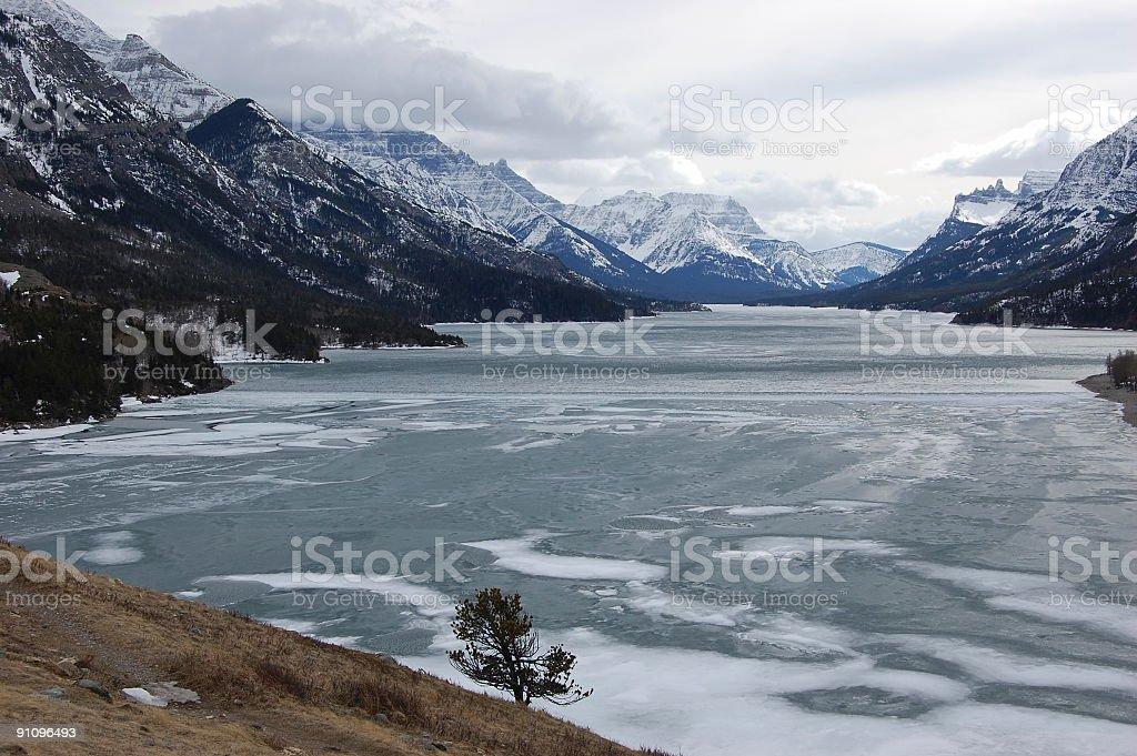 Waterton Lake in  late winter stock photo